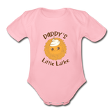 Daddy's Little Latke. Organic Baby Bodysuit - light pink