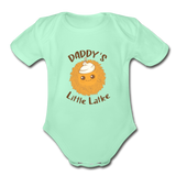 Daddy's Little Latke. Organic Baby Bodysuit - light mint
