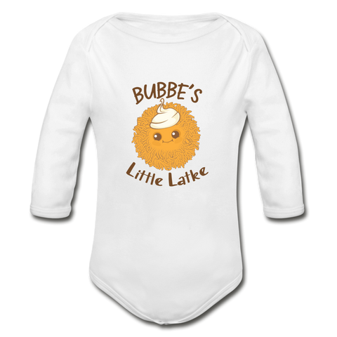 Bubbe's Little Latke. Organic Long Sleeve Baby Bodysuit. - white