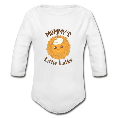 Mommy's Little Latke. Organic Long Sleeve Baby Bodysuit. - white