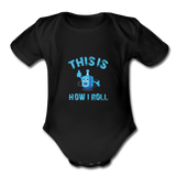 This Is How I Roll. Organic Baby Hanukkah Bodysuit. - black