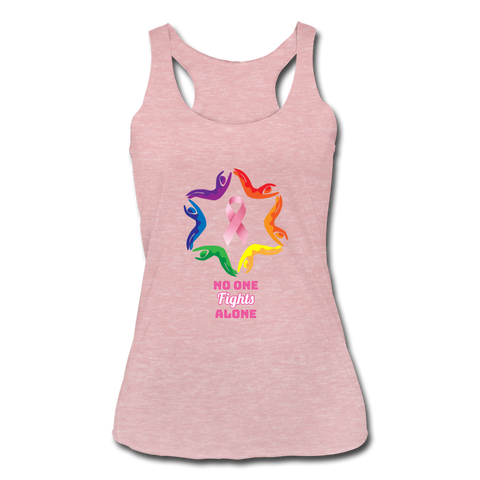 Women's Breast Cancer Awareness Racerback Tank. N.O.F.A. Rainbow - heather dusty rose