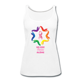Women's Breast Cancer Awareness Tank Top. N.O.F.A. Rainbow - white