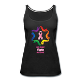 Women's Breast Cancer Awareness Tank Top. N.O.F.A. Rainbow - black