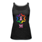 Women's Breast Cancer Awareness Tank Top. N.O.F.A. Rainbow - charcoal gray