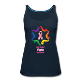 Women's Breast Cancer Awareness Tank Top. N.O.F.A. Rainbow - deep navy