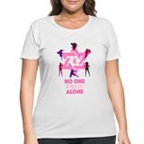 Women's Curvy And Proud Premium Breast Cancer Awareness Tee. No One Fights Alone (N.O.F.A). - white