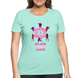 Women's Curvy And Proud Premium Breast Cancer Awareness Tee. No One Fights Alone (N.O.F.A). - mint