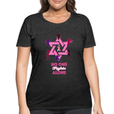 Women's Curvy And Proud Premium Breast Cancer Awareness Tee. No One Fights Alone (N.O.F.A). - deep heather