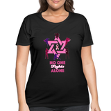 Women's Curvy And Proud Premium Breast Cancer Awareness Tee. No One Fights Alone (N.O.F.A). - black