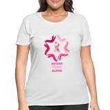 Women's Curvy Premium Breast Cancer Awareness Tee. N.O.F.A. Pink - white
