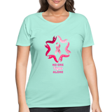 Women's Curvy Premium Breast Cancer Awareness Tee. N.O.F.A. Pink - mint