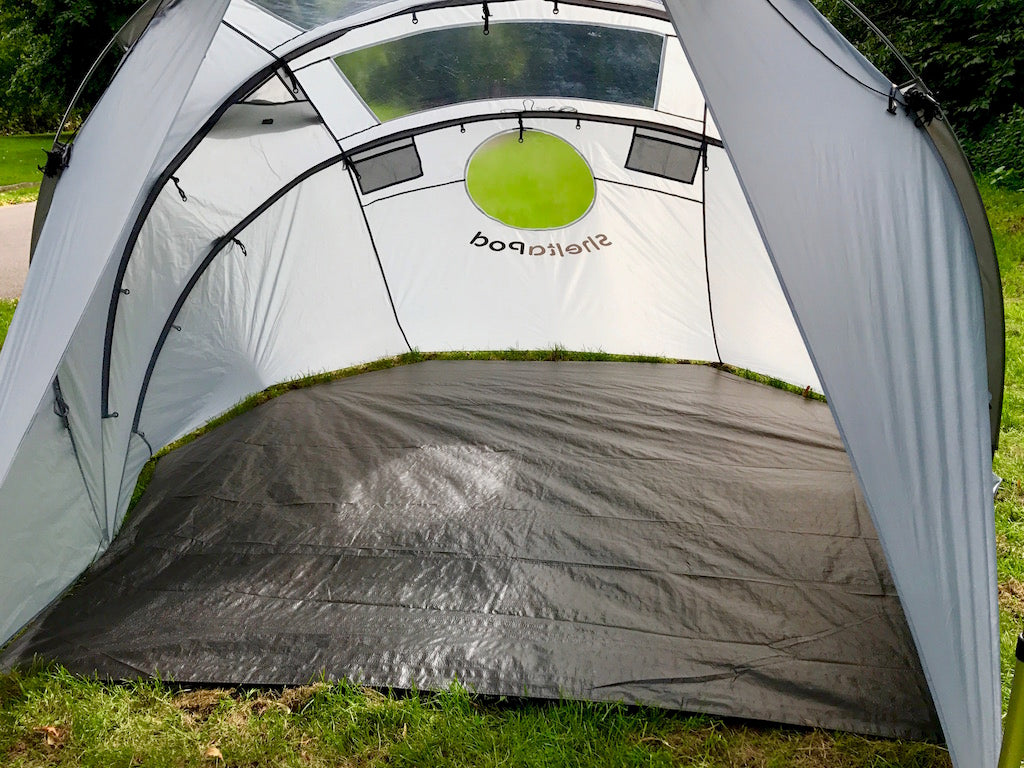 Groundsheet. SheltaPod awning works with any vehicle from SUVs, vans and jeeps to caravans, campers, campervans and motorhomes. It can be used as a sun canopy, half dome, 4 person tent and driveaway awning. A family tent for camping, small pack size and lightweight.