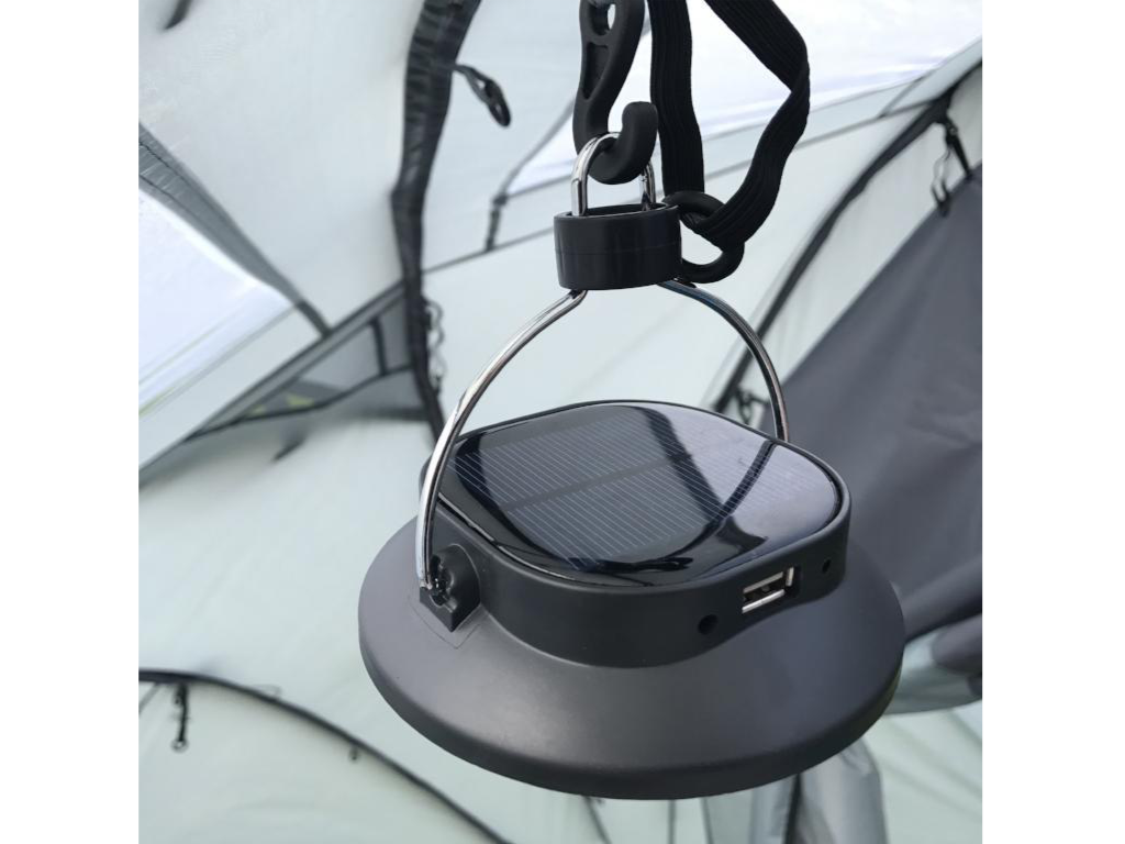 Camping Lantern with USB input, solar panel and hanging clip. An essential accessory to add to your camping list.