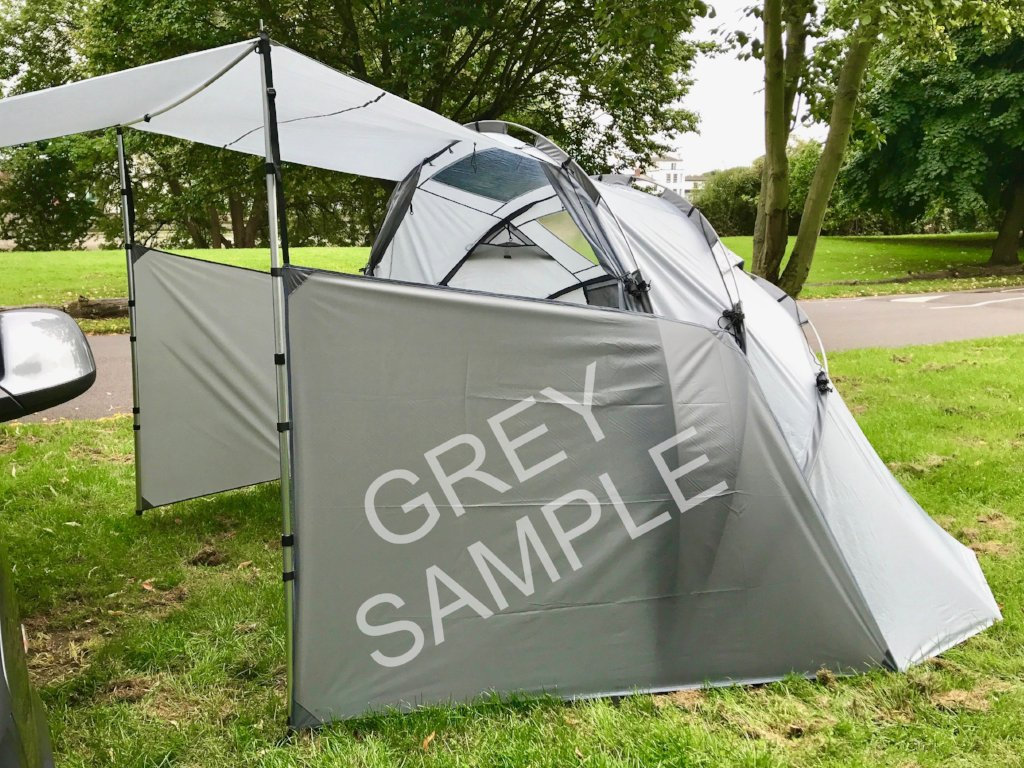 Privacy Panels. SheltaPod awning works with any vehicle from SUVs, vans and jeeps to caravans, campers, campervans and motorhomes. It can be used as a sun canopy, half dome, 4 person tent and driveaway awning.
