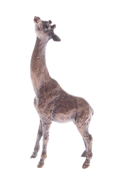 Butler & Peach Detailed Small Solid Bronze Giraffe - bronzebarngallery.com
