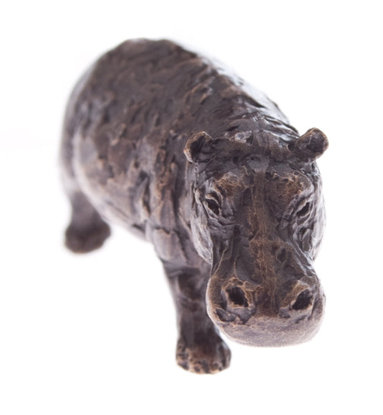 Butler & Peach Detailed Small Solid Bronze Hippo - bronzebarngallery.com