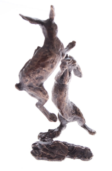 Butler & Peach Detailed Small Solid Bronze Boxing Hares - bronzebarngallery.com