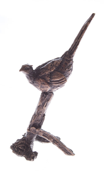 Butler & Peach Detailed Small Solid Bronze Pheasant - bronzebarngallery.com