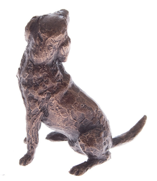 Butler & Peach Detailed Small Solid Bronze Labrador Dog - bronzebarngallery.com