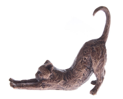 Butler & Peach Detailed Small Solid Bronze Cat - bronzebarngallery.com