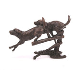 Butler & Peach Detailed Small Solid Bronze Two Labradors Running - bronzebarngallery.com