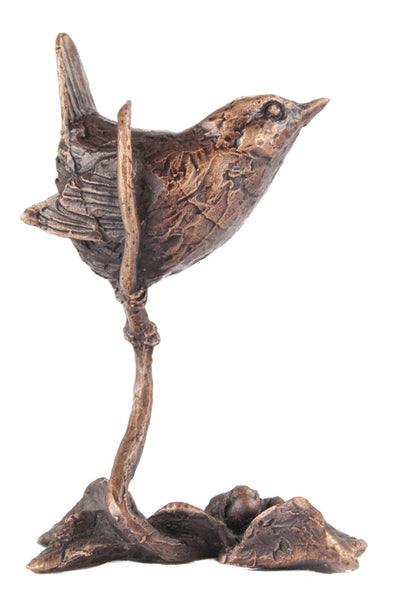 Butler & Peach Detailed Small Solid Bronze Wren - bronzebarngallery.com