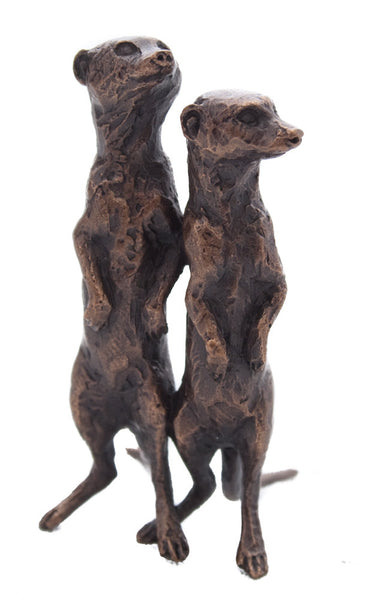 Butler & Peach Detailed Small Solid Bronze Meerkat Pair - bronzebarngallery.com