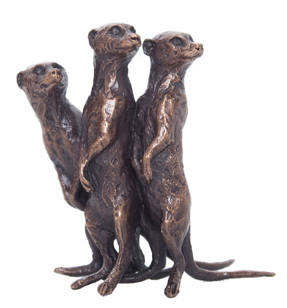 Butler & Peach Detailed Small Solid Bronze Meerkat Group - bronzebarngallery.com