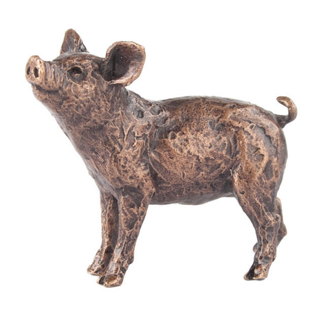 Butler & Peach Detailed Small Solid Bronze Pig - bronzebarngallery.com