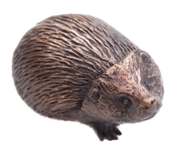 Butler & Peach Detailed Small Solid Bronze Hedgehog - bronzebarngallery.com