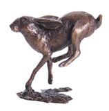 Butler & Peach Detailed Small Solid Bronze Running Hare - bronzebarngallery.com