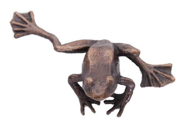 Butler & Peach Detailed Small Solid Bronze Frog - bronzebarngallery.com