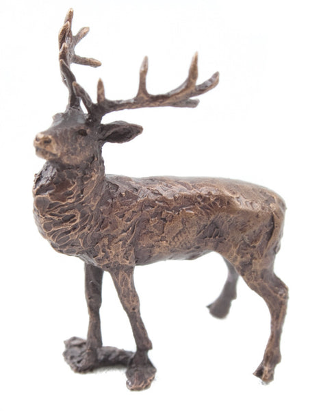 Butler & Peach Detailed Small Solid Bronze Stag - bronzebarngallery.com