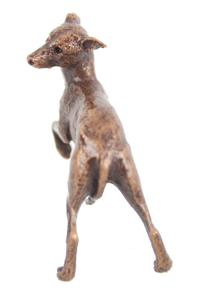 Butler & Peach Detailed Small Solid Bronze Whippet - bronzebarngallery.com
