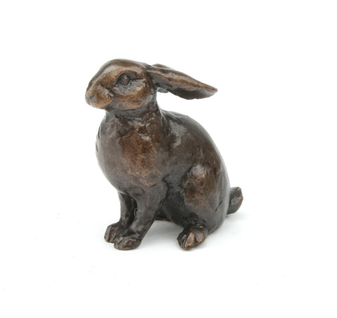Butler & Peach Detailed Small Solid Bronze Bunny - bronzebarngallery.com