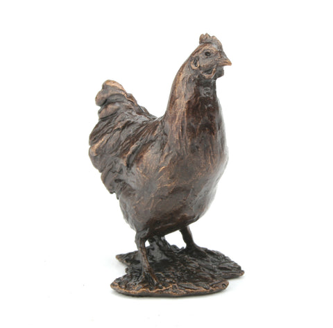 Butler & Peach Detailed Small Solid Bronze Chicken - bronzebarngallery.com