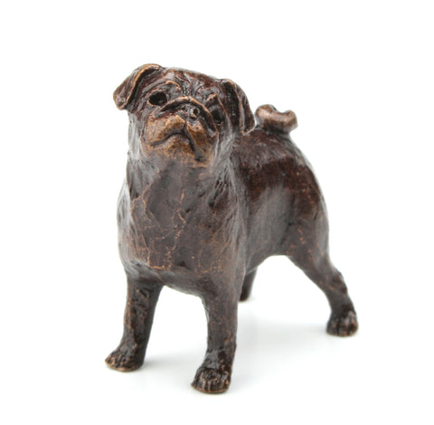 Butler & Peach Detailed Small Solid Bronze Pug - bronzebarngallery.com