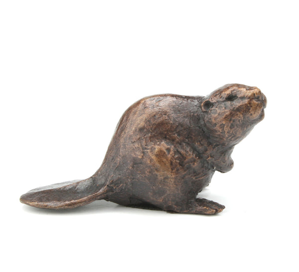 Butler & Peach Detailed Small Solid Bronze Beaver - bronzebarngallery.com