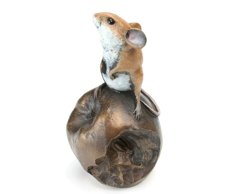 Mouse on Apple Hand Painted Cold Cast Bronze by Michael Simpson