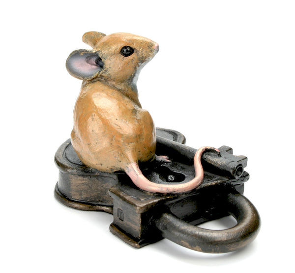 Mouse on Antique Lock Hand Painted Cold Cast Bronze by Michael Simpson