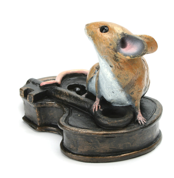 Mouse on Antique Lock Hand Painted Cold Cast Bronze by Michael Simpson - bronzebarngallery.com