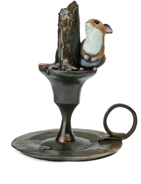 Mouse on Candlestick Hand Painted Cold Cast Bronze by Michael Simpson - bronzebarngallery.com