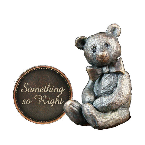 Hot Cast Bronze Penny Bear 2015 - Something so Right - bronzebarngallery.com