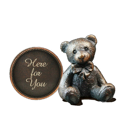 Hot Cast Bronze Penny Bear 2015 - Here for You - bronzebarngallery.com