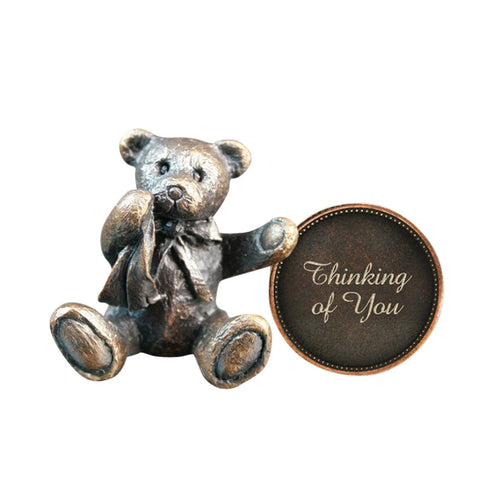 Hot Cast Bronze Penny Bear 2015 - Thinking of You - bronzebarngallery.com