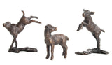 Limited Ed Hot Cast Bronze Sculpture Three Little Lambs - bronzebarngallery.com