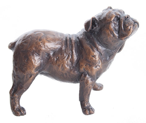 Ltd Ed Hot Cast Bronze Sculpture Small Bulldog by Michael Simpson - bronzebarngallery.com