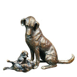 Solid Bronze Sculpture Labrador With Puppies Michael Simpson Limited Edition 150 - bronzebarngallery.com