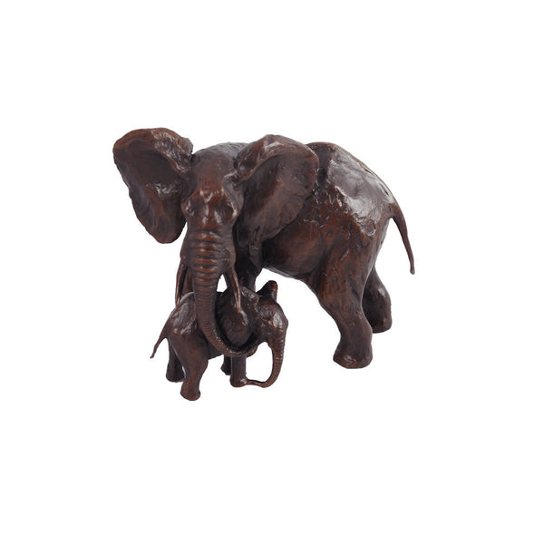 Limited Edition 200 Hot Cast Solid Bronze Sculpture Elephant Cow and Calf - bronzebarngallery.com